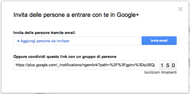 Inviti per Google Plus